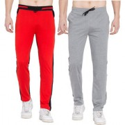 Cliths Pack of 2 Men's Cotton Stylish Trackpants/ Running Joggers For Men/ Gym Lowers For Men (Grey Black Red Black)