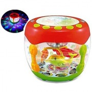 Musical Flash Drum With Flashing Lights And Rotating Fish Assorted Colors