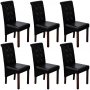 6 pcs Artificial Leather Wood Black Dining Chair