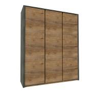 Háromajtós szekrény, tölgy lefkas sötét-smooth szürke, MONTANA S3D
