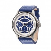 Morphic M61 Series Chronograph Leather-Band Watch w/Date - Silver/Blue MPH6102