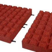Červená gumová dopadová dlaždice (V80/R15) FLOMA - délka 50 cm, šířka 50 cm a výška 8 cm