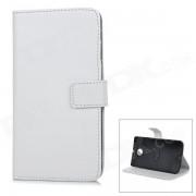 Cubierta protectora-flip abierto la caja de cuero para Motorola NEXUS 6 - Blanco