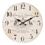 Ceas de perete lemn rotund vintage Chateau de Guiller ø35