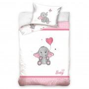 Lenjerie de pat copii, din bumbac, Elefant, roz, 100 x 135 cm, 40 x 60 cm