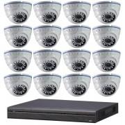 Kit vidéo-surveillance 16 caméras dômes ip full hd 1080p + dvr avec support poe