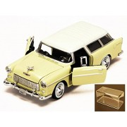Diecast Car & Accessory Package - 1955 Chevy Bel Air Nomad, Yellow - Motormax 73248 - 1/24 scale Diecast Model Toy Car w/display case