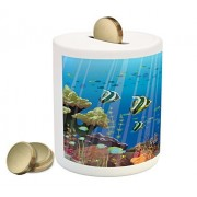 Marine Coin Box Bank by Ambesonne, Majestic Universe Deep Underwater World Exotic Coral Reef with Sea Creatures Nature, Printed Ceramic Coin Bank Money Box for Cash Saving, Multicolor