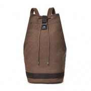 Canvas Large Capacity Barrel Backpack Travel Teenager School Bag - Size: L / Coffee