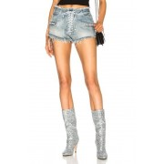Unravel Lace Front Denim Shorts in Blue. - size 25 (also in 26,27)