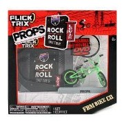 Spinmaster Flick Trix Fingerbike Real Bikes Unreal Tricks Bmx Bicycle Miniature Set - Green Color Fbm Bike Co. With Display Base And Dvd Props Rock
