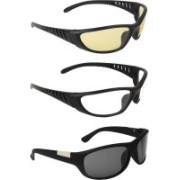 Zyaden Wrap-around Sunglasses(Yellow, Clear, Black)