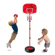Height Adjustable Protable Basketball Set - Happytime Kids Basketball Adjust Hoop and Pump Basketball Set Indoor and Outdoor Fun Toys for 3+ Years Old