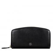 Maxwell-Scott schlanke Damen Leder Geldbörse mit Reißverschluss in Schwarz - Ponticelli - Brieftasche, Portemonnaie, Geldbeutel, Kreditkartenetui