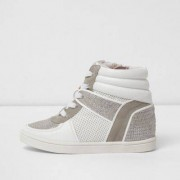 River Island Girls White snakeskin panel high top trainers