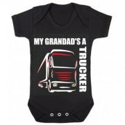 Z -My Grandad's A Trucker black romper suit kids boy girl Lorry HGV Volvo Scania Iveco