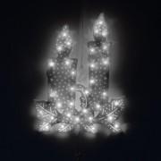 Karácsonyi LED ablakdísz gyertya 40 cm hideg fehér