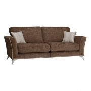 Oak Furnitureland Chocolate Fabric Sofas - Studded 4 Seater Sofa - Quartz Range - Oak Furnitureland