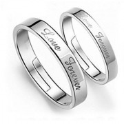 Elegant Sterling Silver Love Forever Adjustable Couple Rings With Free Box By Stylish Teens