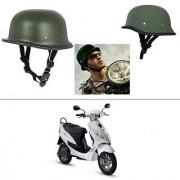 AutoStark German Style Half Helmet (Green) for Hero Electric