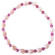 Pink Fuchsia Freshwater Pearls Rice Shaped Swarovski Crystals Bracelet