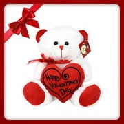 "KINREX Valentines Day Teddy Bear - 11.81"" / 30 cm. - Teddy Bear Gifts for Girlfriend, Boyfriend, Wife, Husband - Color White with Red Heart Pillow - Happy Valentine's Day Embroidery"