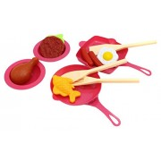Little Treasures Cooking Frying & Grilling Playset Ideal For Preschoolers To Pretend Play Cookware & Serve Ware Fry And Grill Pans With 3 Ladles And 2 Deep Plates, Burger Patty & Fried Egg Toy