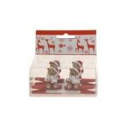 Bellatio Decorations Kerst kaarten knijpers met beer met hart 4 stuks