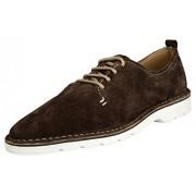 Buttons & Laces Men's Brown Lace-Up Flats - 7 UK