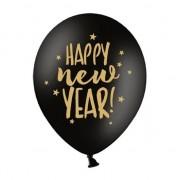 Geen 6x Zwarte Happy New Year ballonnen sterren nieuwjaar