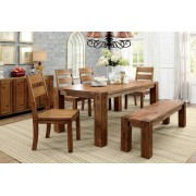 6 pc frontier collection dark oak finish wood rustic block style dining table set