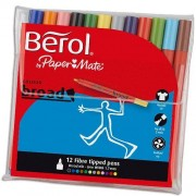 Berol Felt Tips - 12 Berol Colourbroad felt tip pens in 12 colours. Washable ink.