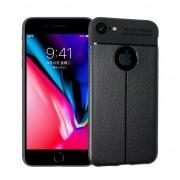 GadgetBay Litchi Grain lederen iPhone 7 8 TPU hoesje - Zwart