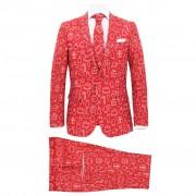 vidaXL Costum bărbătesc Crăciun, 2 piese, cravată, roșu, mărimea 52
