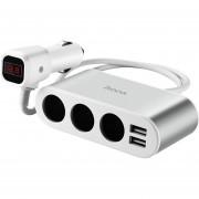HoCo Z13 3 En 1 Digital Display Dual USB Cargador De Coche Rápido, Para IPhone, Galaxy, Nokia, Sony, HTC, Huawei, Y Otros Smartphones (plata)