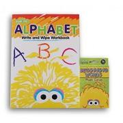 Sesame Street Alphabet Write and Wipe Workbook and 36 Beginner Words Flash Cards