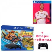 Конзола Crash Team Racing Nitro-Fueled 500GB PS4 Bundle (PS4)+Игра FIFA 20 за Playstation 4+Геймпад - Sony PlayStation DualShock 4 Wireless, версия 2