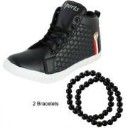 Footgear Men's Black Casual Outdoor High Top Sneakers (M-CA-9-Black)