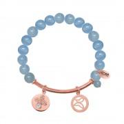CO88 Armband met bedels bar/vlinder/open vlinder rosé/blauw 8CB-50004
