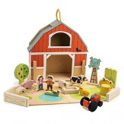 Baby Barn Set - 18 Pc Wooden Take Along Barnyard Playset - Made with Premium Materials and Craftsmanship - Develop Creative and Imaginative Play - for Children 3+