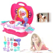 Girls Toy Vanity Beauty Cosmetic Bag Carry Case Hair Dryer Make Up Set Pink