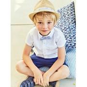 Camisa lisa para menino, de mangas curtas branco claro liso