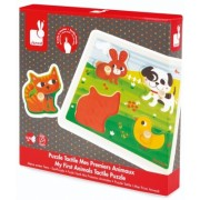"Puzzle tactil ""Primele mele animale"" 4 piese - Janod (J07080)"