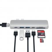 Satechi USB-C Pro USB Hub - мултифункционален хъб за свързване на допълнителна периферия за MacBook Pro (сребрист)