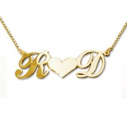 Personalized Men's Jewelry Personalized Gold Plated Silver Couples Heart Necklace 101-01-082-08