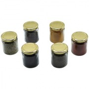 Glazzure Cute 350 ml Airtight Glass Jar Containers for Dry Fruits Spices & other Kitchen Items with Rust Proof Golden Color Caps Set of 6 pcs