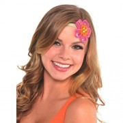 """Hawaiian Summer Luau Party Elastic Flower Headband Accessory, Fabric, 19"""""""