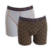 Vinnie-G boxershorts Military Olive Grey- Print 2-pack L