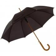 Merkloos Zwarte paraplu met houten handvat 103 cm