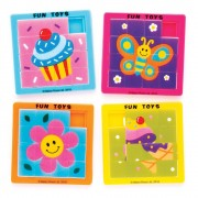 Baker Ross Mixed Novelty Sliding Puzzles - 5 Pocket Puzzles In 5 Assorted Designs. Brain Teasers For Kids. Party Bag Fillers. Size 6.3cm x 6.3cm.